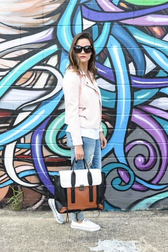 live more beautifully blogger pink jacket satchel bag