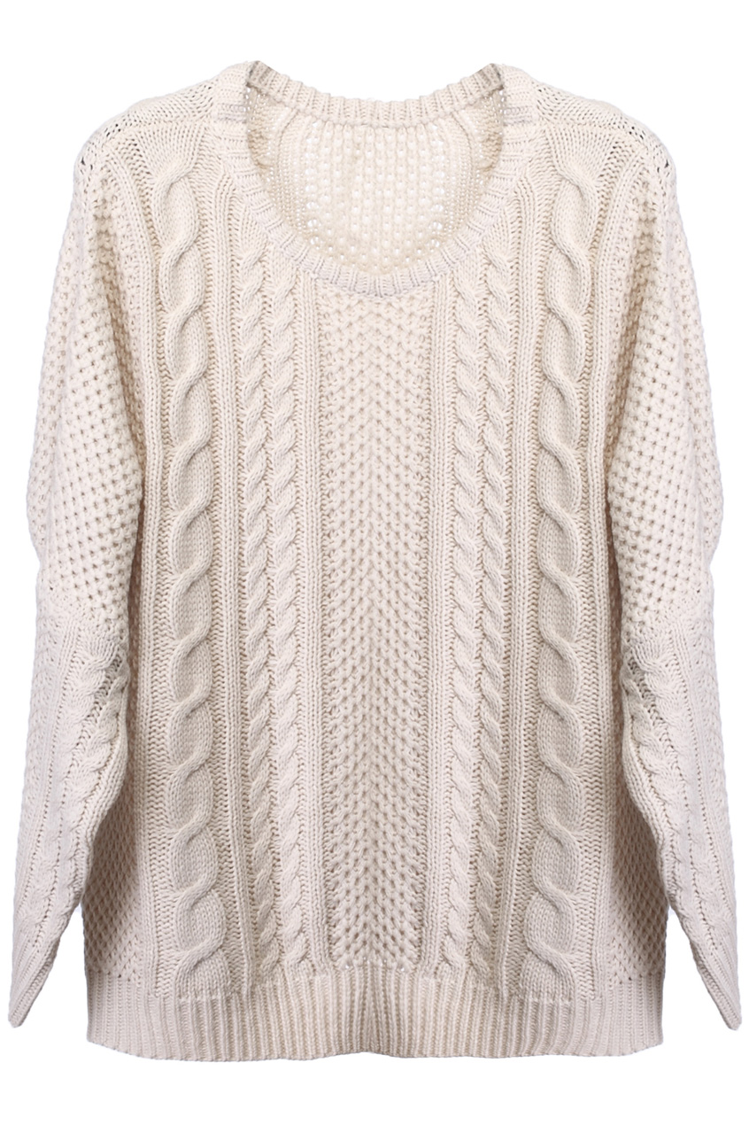 ROMWE | Oversized Knit Batwing Cream Sweater, The Latest Street Fashion