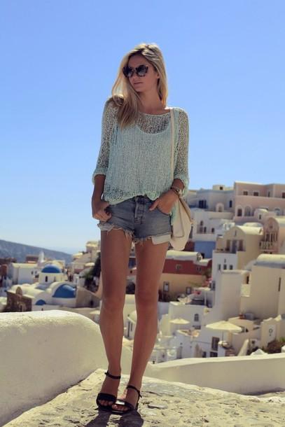 tuula sweater shorts sunglasses jewels shoes bag