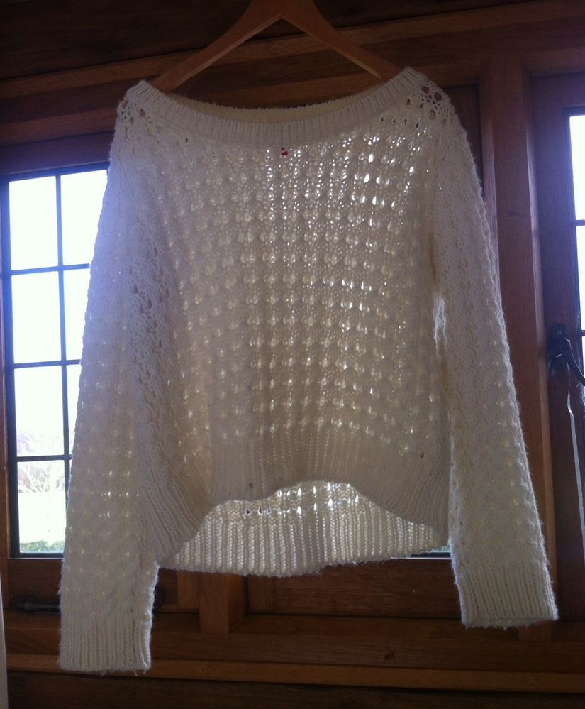 Womens Ladies Cream Knit H&M Cropped Oversized Winter Spring Sweater Jumper | eBay