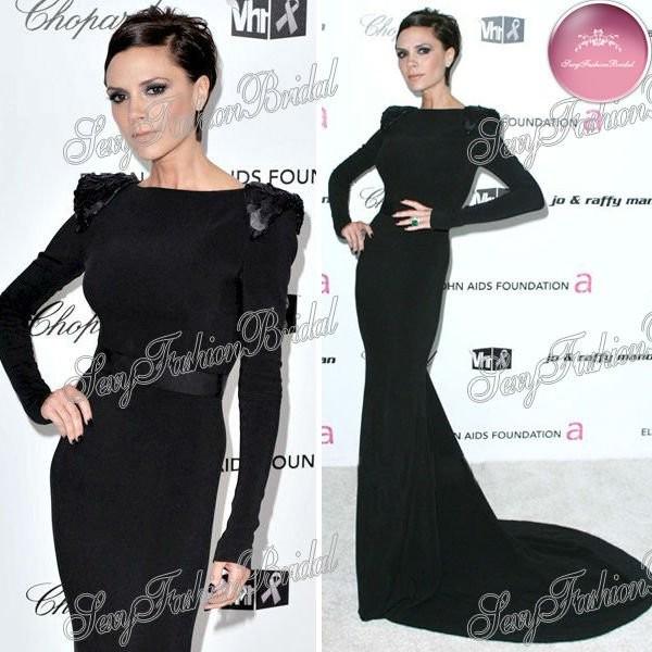 dress black dress long dress victoria beckham long sleeve dress celebrity style