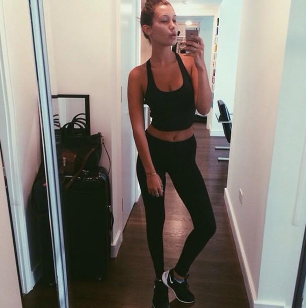 shoes bellahadid sportswear shirt black shirt
