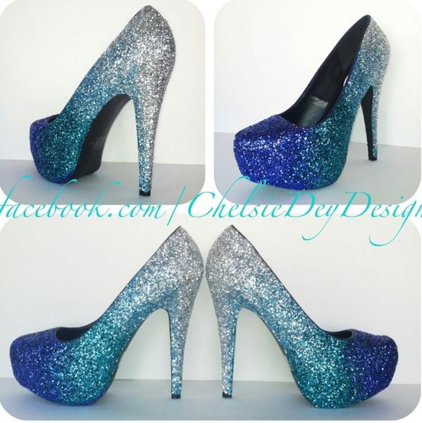 shoes glitter heels ombre glitter shoes blue heels