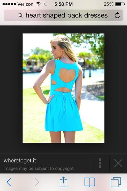dress blue heart back dress