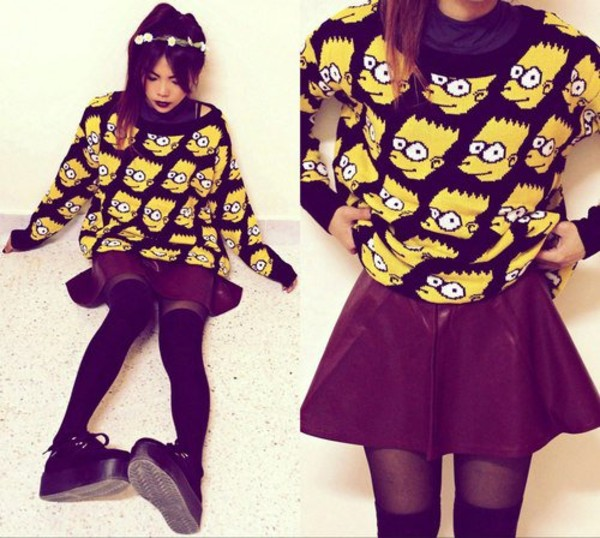 sweater bart simpson the simpsons the simpsons bart sweater black sweater knitted sweater hipster cartoon bart simpson