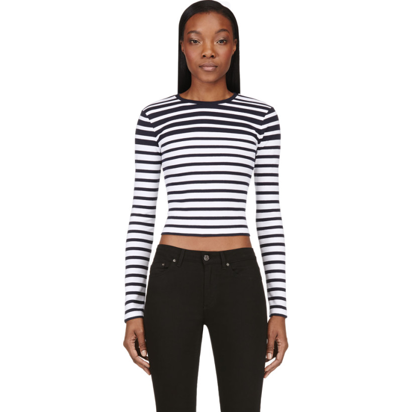 T by Alexander Wang - Navy & White Compact Cotton Engineered Stripe T-Shirt | SSENSE