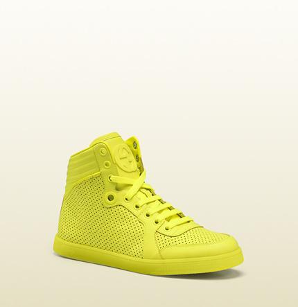Gucci - coda neon yellow leather sneaker 323812DBL507102