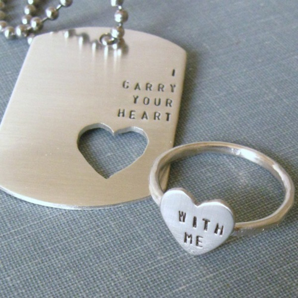 jewels necklace ring military style heart quote on it dog tag matching set
