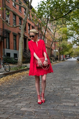 atlantic pacific blogger bag sunglasses red dress studded shoes red heels