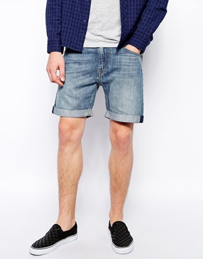 Weekday | Weekday Beach Day Denim Shorts in Mid Blue at ASOS