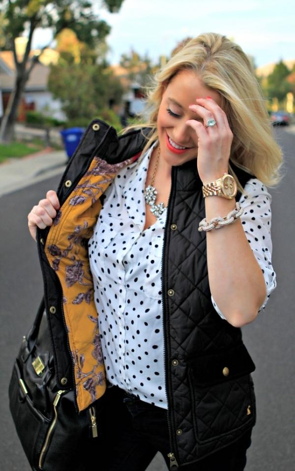 Fashion Polka-Dot Print Long Sleeve Shirt - OASAP.com