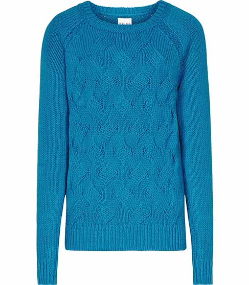 Theola Turkish Blue Chunky Cable Jumper - REISS