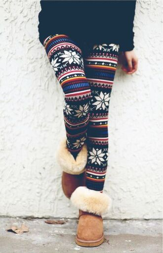 christmas leggings snowflake ugg boots shearling boots leggings winter outfits
