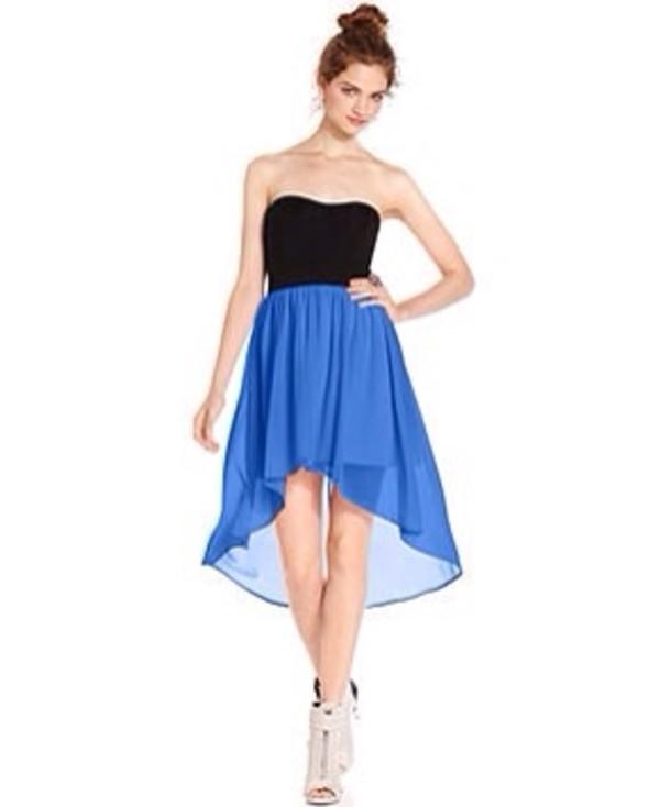 dress strapless dress black and blue