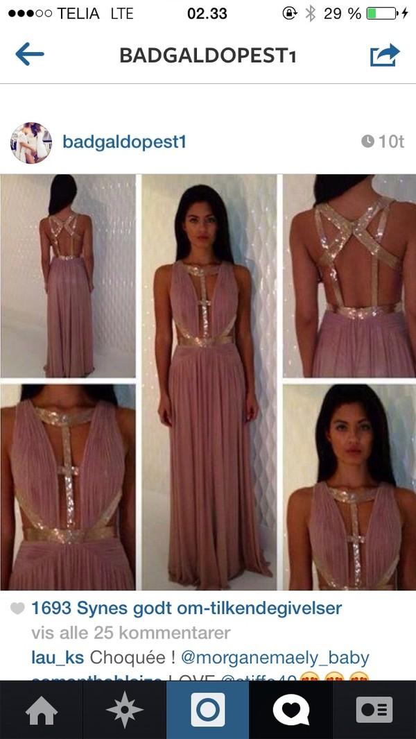 dress pink dress maxi dress gold sequins open back