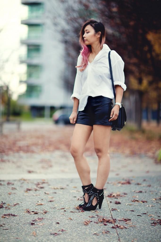 Thrift of the Week - White shirt and leather shorts   Closet VoyageCloset Voyage