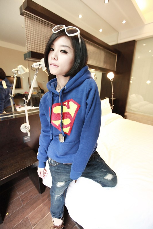2013 Hot sale Women's new Superman model thicker fleece hooded casual sweater free shipping    MC226-in Hoodies & Sweatshirts from Apparel & Accessories on Aliexpress.com