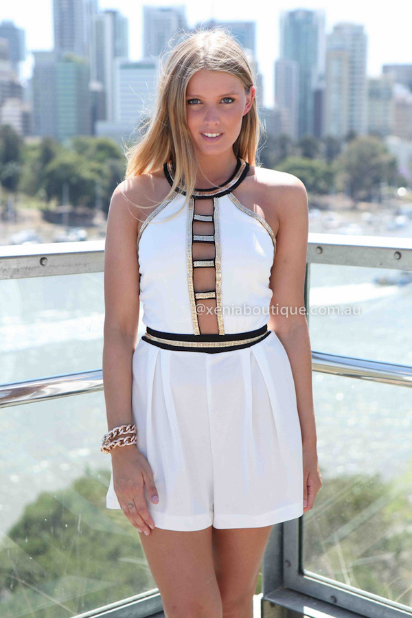 dress xeniaboutique women's clothing ootd ootn romper white romper black gold