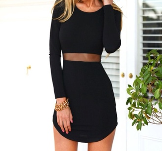 dress black top skirt bodycon dress cut-out short blond party the little black long slevees new year's eve black dress party dress mesh little black dress short dress long sleeves long sleeve dress mesh dress short skirt fancy dress homecoming dress black short dress make-up