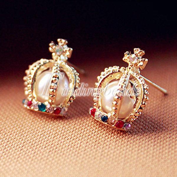 Hot Gold Pearl Colorful Crystal Rhinestone Fairytale Queen Crown Stud Earrings | eBay
