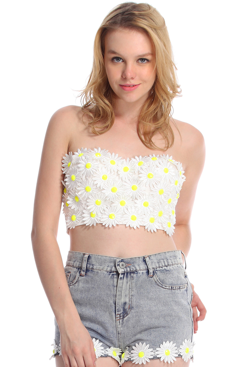 ROMWE | ROMWE Daisy Embellished White Bandeau, The Latest Street Fashion