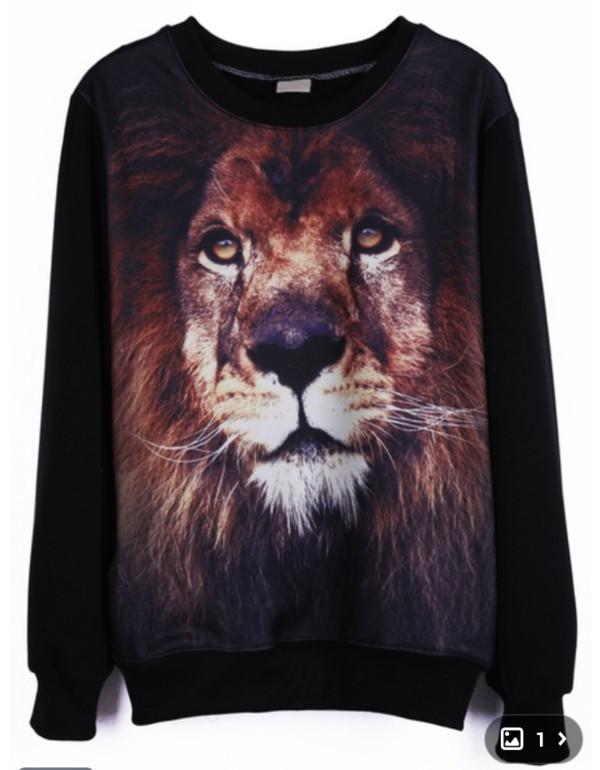sweater sweatshirt oversized sweater lion