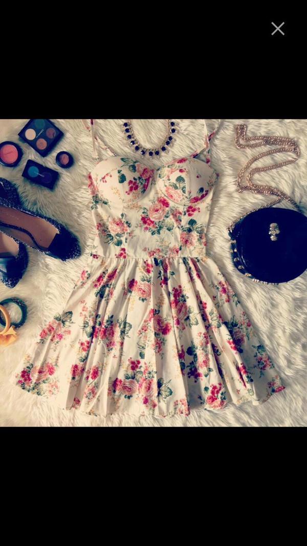 dress floral dress bustier dress cute dress bag jewels shoes shirt