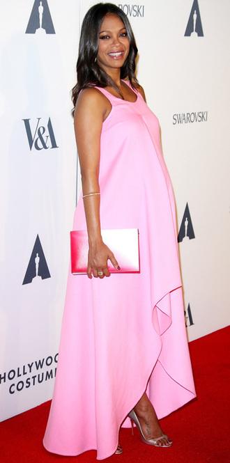 dress pink dress pink zoe saldana maternity dress