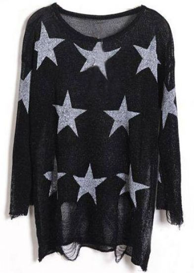 Black Star Print Long Sleeve Ripped Distressed Jumper - Sheinside.com