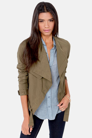 Cute Olive Green Jacket - Asymmetrical Jacket - Button-Up Jacket - $81.00