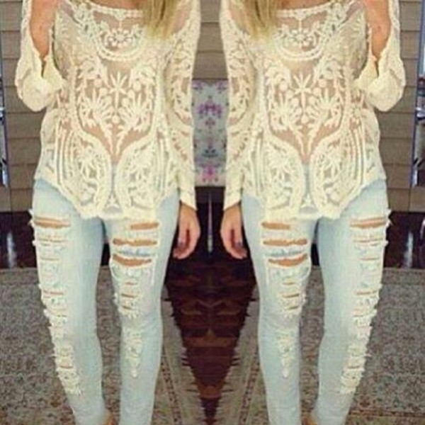 blouse white lace blouse late afternoon
