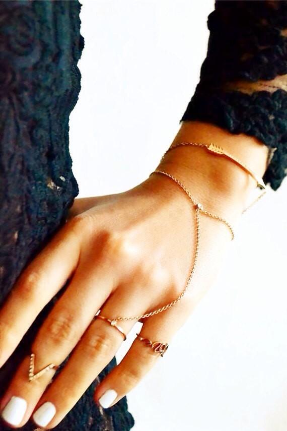 SOFIA by Rouelle, Jewelry, Bracelet, Charm Bracelet, handpiece, ring bracelet, hippie bracelet ring, chain ring bracelet, bracelet ring slave bracelet, slave ring, slave chain, hand piece, hand chain, bracelet, delicate hand piece, delicate
