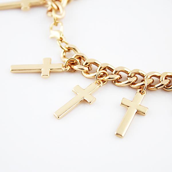 Gold Cross Link Bracelet - Sheinside.com