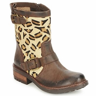 shoes bottes leopard print motardes