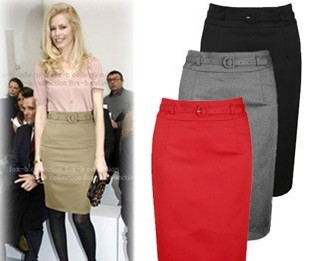 2014 fashion autumn and winter black gray red 3 colors slim hip pencil skirt women-inSkirts from Apparel & Accessories on Aliexpress.com