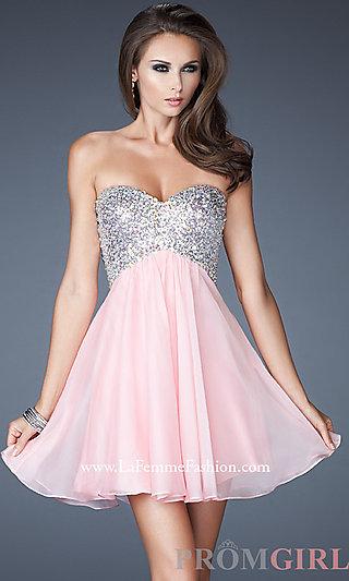 Open Back Cocktail Dress, La Femme Short Dress-PromGirl