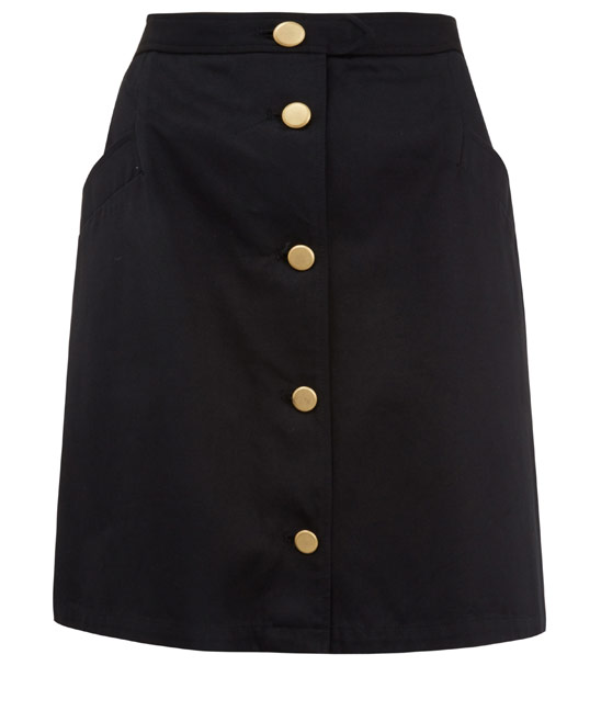 A.P.C. Black Army A-Line Button-Up Skirt | Skirts by A.P.C. | Liberty.co.uk