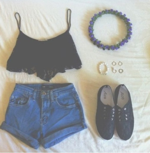 blouse shorts tank top shoes hat flower crown shirt crop tops High waisted shorts black shoes black