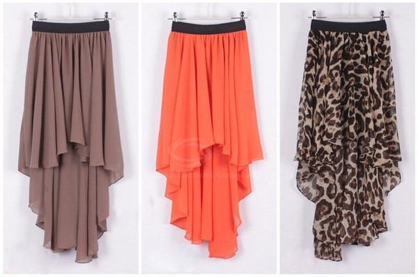 skirt high low skirt leopard print orange mocha black elastic waist band