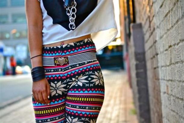 leggings abtract print winter outfits christmas leggings snowflake pants aztec tribal pattern