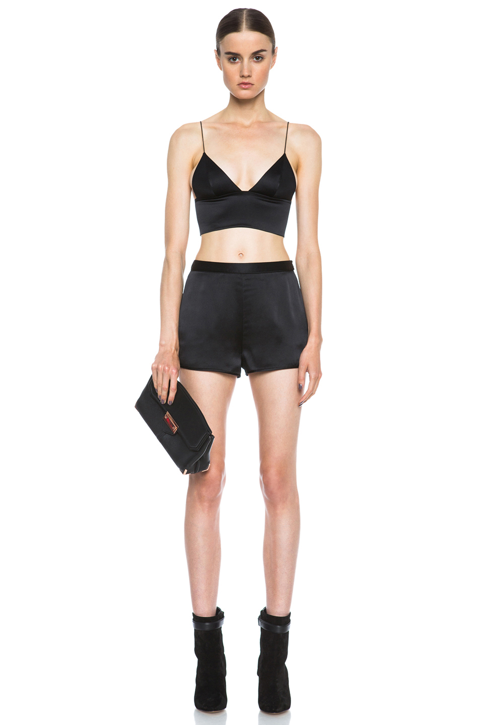 T by Alexander Wang|Silk Satin Triangle Bralette in Black