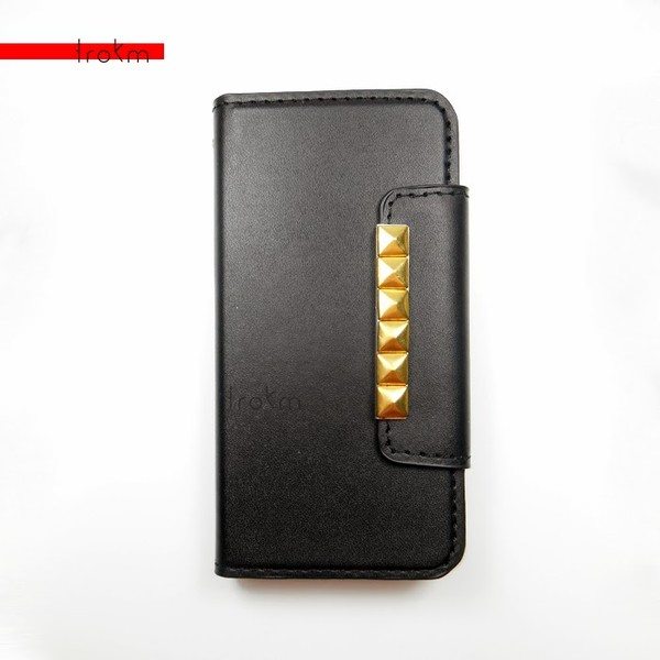 bag studs gold phone cover black leather iphone 5c
