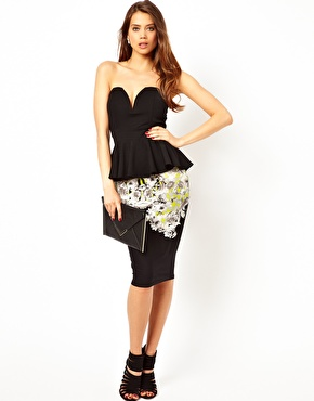 TFNC | TFNC Bandeau Top With Plunge Neck and Peplum at ASOS