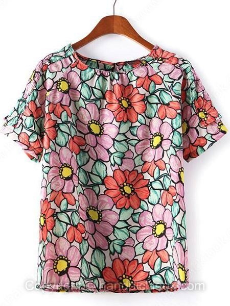 Pink Short Sleeve Flowers Print T-Shirt - HandpickLook.com