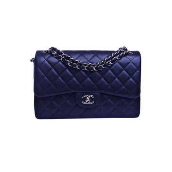 Chanel Midnight Blue Quilted Caviar Jumbo Classic 2.55 Double Flap Bag on Wanelo