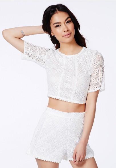 Sayde Crochet Lace Crop Top - Tops - Crop Tops & Bralets - Missguided