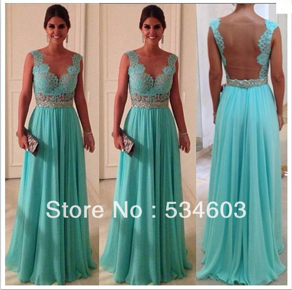 New Arrival Fashion Deep V neck Back Open Beaded See Through Long Chiffon Turquoise Evening Prom Dress with Sash CR 50-in Prom Dresses from Apparel & Accessories on Aliexpress.com