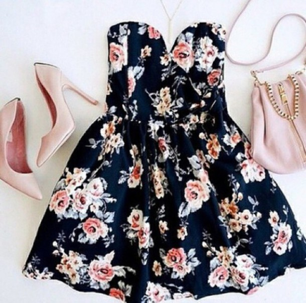 dress floral dress strapless dress floral dress short party