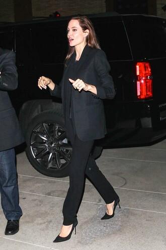 pants jacket suit black angelina jolie high heels