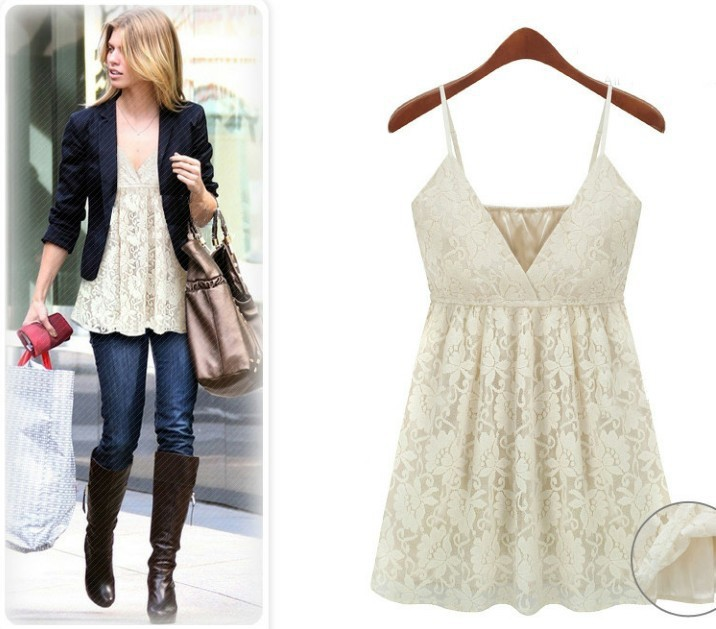 Free Shipping European Fashion Sexy Mini Short Lace Dress White V Neck Vest Tank Top Summer Autumn Clothing For Women SD162-in Dresses from Apparel & Accessories on Aliexpress.com